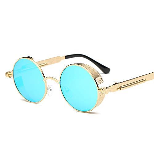 Gymy Gafas de sol de marco redondo, metal de moda de primavera, lentes de sol reflectantes coloridas para mujer, 9