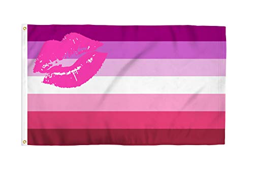 Lipstick Lesbian 3x5 Foot LGBTQ+ Pride Flag - Bold Vibrant Colors, UV Resistant, Golden Brass Grommets, Durable 100 Denier Polyester, Mighty-Locked Stitching - Perfect for Indoor or Outdoor Flying!