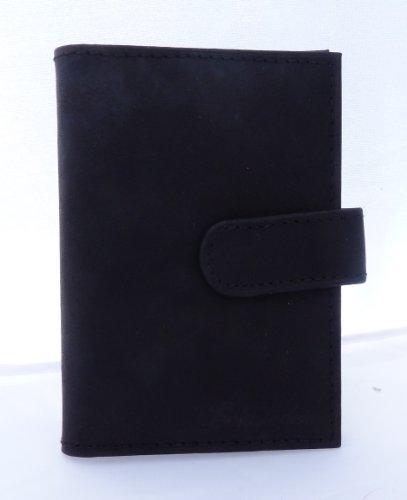 N&B Geldboerse Herren Damen Leder schwarz edles Business Portmonaie Geldbörse Scheckkarten Börse 7cm (schwarz) 3065