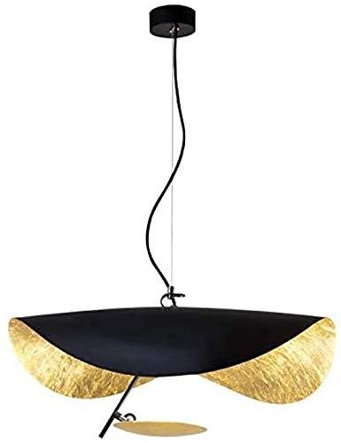 FANLIU Lámpara colgante de la vendimia creativa LED Negro Diseño UFO del oro que cuelga de lujo moderno de metal ligero Pantalla Lámpara de altura ajustable de cocina Loft Bar Comedor Lámparas de mesa
