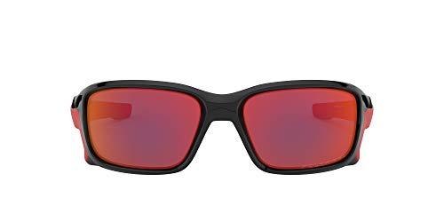 Oakley Herren STRAIGHTLINK Sonnenbrille, Polished Black/Torch Iridum Polarized, M/L