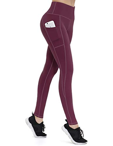 ALONG FIT Leggings Damen mit Taschen, Nicht durchsichtig Sporthose Damen Dehnbar Yogahosen für Damen, Burgunderrot, M