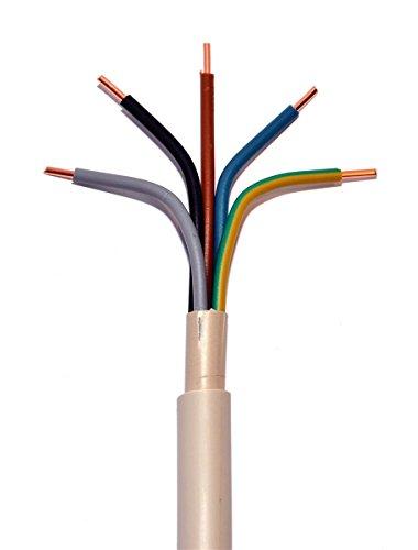 METERWARE NYM-J 5x16 mm² RM Mantelleitung grau 5x16 qmm Installationsleitung Feuchtraumleitung, jede Menge eine Länge