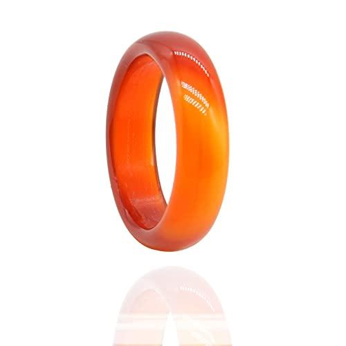 Anillo de cristal de cornalina roja natural de piedra cornalina para mujer, anillo de donut redondo liso (1 unidad) rojo