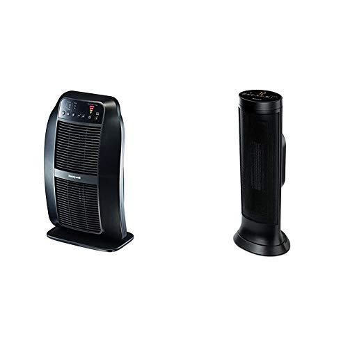 Honeywell Genius HeatGenius Ceramic Heater with Multi-Directional Heating, Black & Slim CeramicTower Heater, Large Room, Black – Easy to UseCeramic Heater