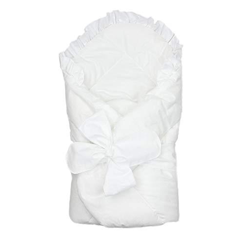 TupTam Unisex Baby Einschlagdecke mit Schleife, Farbe: Weiß, Größe: 70 x 70 cm