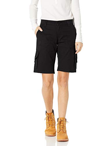 Dickies Women's 11 Inch Relaxed Cargo Short, Black, 14