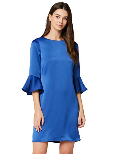 Amazon-Marke: TRUTH & FABLE Damen Kleid mit ausgestellten Ärmeln, Blau (Cobalt), 44, Label:XXL