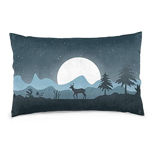 Deer Forest - Funda de almohada decorativa para decoración del hogar (50,8 x 76,2 cm)