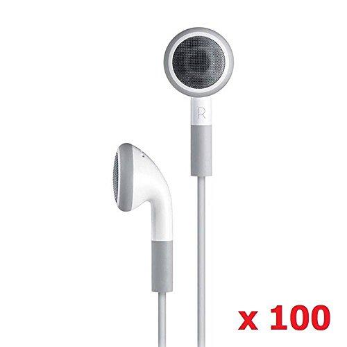 SeattleTech Groothandel (100 Pack) Wegwerp Eenvoudige Witte Koptelefoon Hoofdtelefoon Headset voor iPhone 7 6 6s 6plus plus 5 5s 4 4s 3G 3Gs iPod MP3 MP4