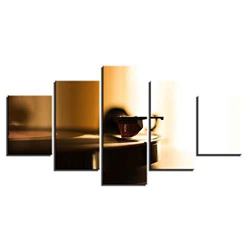 XCSBZ Hd-Drucke Auf Leinwand Wandkunst Bilder Home Decor 5 Stück Phonograph Gemälde Modulare Retro-Musik Plattenspieler Poster,with Frame