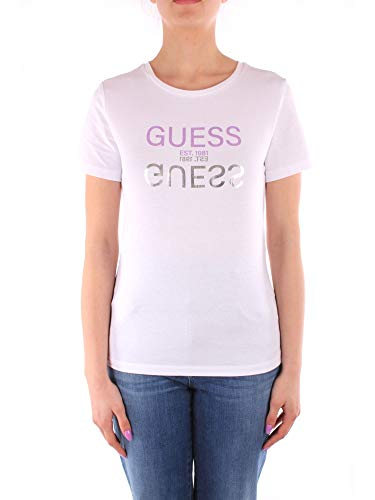 Guess Camiseta Blanca de Mujer Manga Corta Cuello Redondo W1GI0CI3Z11-TWHT M
