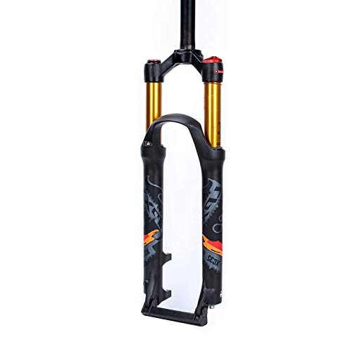 Xiami Mountain Bike Front Air Fork 26/27.5/29 Inch Bicycle Shock Absorber 120mm Stroke Manual/Remote Lockout Black+Gold Tube+Orange Sign (Color : Manual, Size : 27.5')