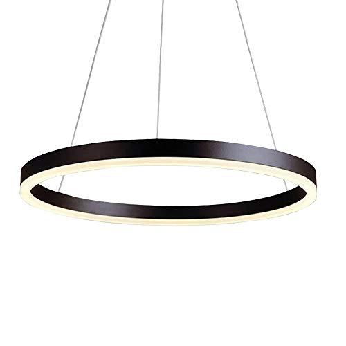 30W LED Sospeso Anello Luce Circolare In Alluminio Nero Lampada d Sospensione Moderna Plafoniera Luce Per Vivere Sala da Pranzo-Camera da Letto Altezza Regolabile, Luce Calda 3000K, Ø60CM