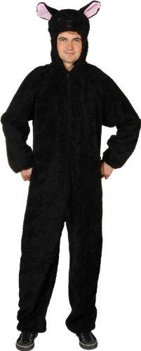 Verkleidung: schwarzer Schaf-Overall, Größe 170 cm/185 cm, Erwachsenen-Größe:58