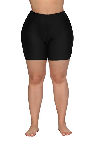 ALove Women's Board Shorts Plus Size Long Bathing Suits Shorts Beach Swimsuits Black 2X