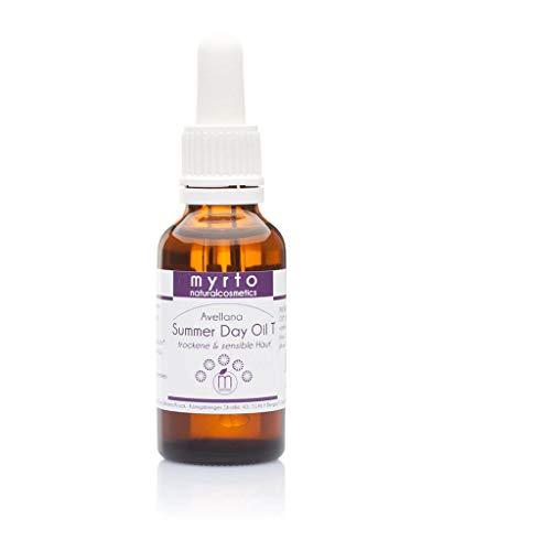 myrto – Bio Sunshine Day Oil T - Anti-aging Gesichtsöl | rein pflanzlicher Lichtschutz für trockene + reife Haut - ohne Duftstoffe - vegan - Braunglas - 30ml