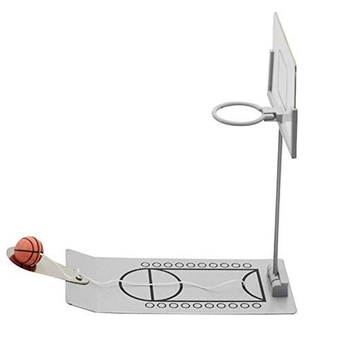 Phrat Mini juego de baloncesto de escritorio, para interior, con pelotas, para aficionados y aficionados (plata)