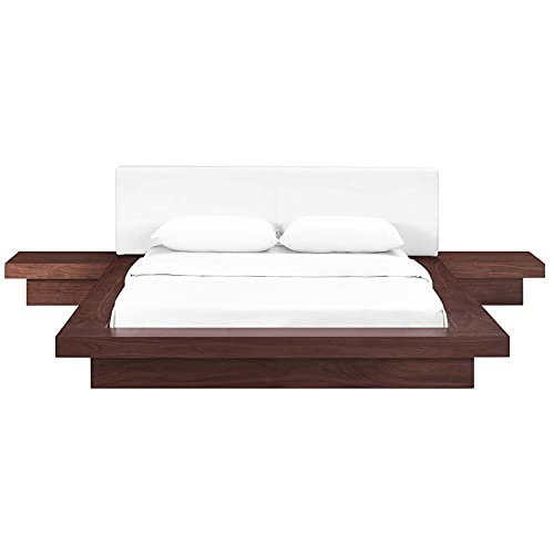 Modway Freja Faux Leather Upholstered Platform Queen Size Bed and 2 Nightstands in Walnut White