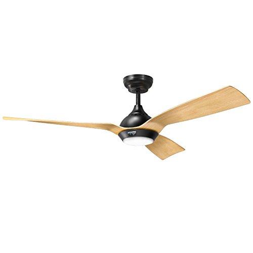 Ventilateur de plafond à moteur à courant continu reiga 132 CM avec lumière LED à intensité variable, 3 lames de couleur peintes à la main, 6 vitesses, minuterie, télécommande App, Alexa