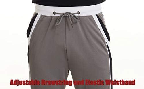 MAGCOMSEN Men's Sweatpants Mesh Joggers Side Stripe Lightweight Closed Bottom for Workout, Gym, Yoga