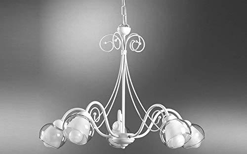 Lámpara de 5 luces blancas - Estilo: Clásico / Shabby - Compatible con bombilla de clase