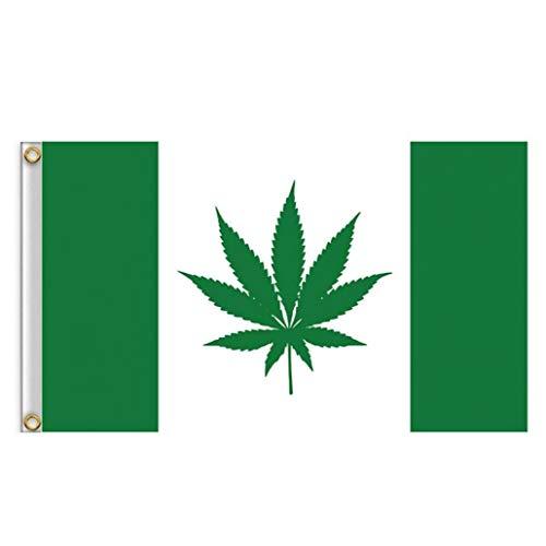 Nicetruc Práctica De La Bandera De Canadá Duradero Marihuana Weed Bandera Bandera Ojal Portátil De Metal para El Festival De Eventos