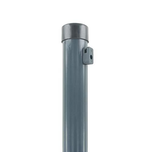 INDUTEC Zaunpfosten - 40 x 1200 - für Maschendraht Drahtzaun - anthrazit pulverbeschichtet - mit Drahthaltern