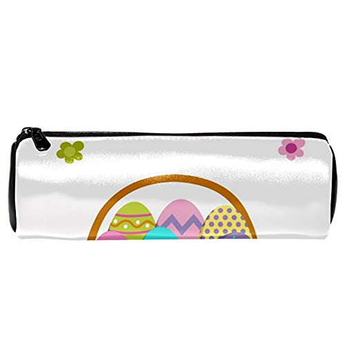 Estuche de cuero con patrón de huevo de Pascua para lápices, monedero, bolsa de maquillaje cosmético para estudiantes, papelería, escuela, trabajo, oficina, almacenamiento