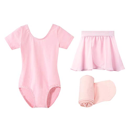 STELLE Short Sleeve Ballet Leotard Combo with Dance Skirt and Dance Tight (Ballet Pink-Pull on , 100)