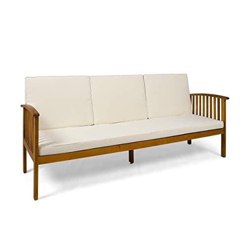 Christopher Knight Home 307791 Breenda Outdoor Acacia Wood Sofa with Cushions, Teak Finish, Cream