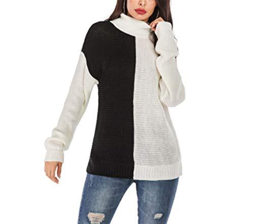 Vrouwen Button Sweater Geladen Hit Color coltrui gebreide jas en lange stukken Knitwear Winter Hooded (Color : Black+White, Size : S)