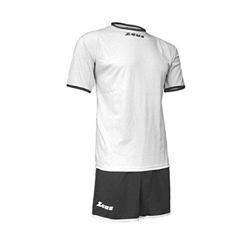 Zeus Herren Kinder Set Trikot Shirt Hosen Klein Armel Fußball Hallenfußball Kit Sticker Weiss Schwarz (L)