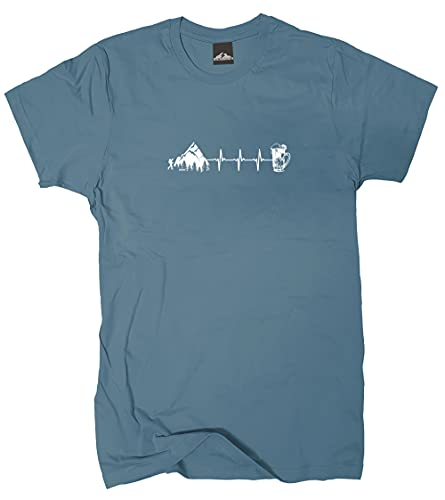 Wolkenbruch® T-Shirt Wandern Berge Bier Herzfrequenz, stoneblue, Gr.M