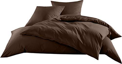 Mako-Satin Baumwollsatin Bettwäsche Uni einfarbig zum Kombinieren (Bettbezug 135 cm x 200 cm, Dunkelbraun)