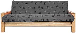 Futon On Line Sofá Cama Vienna, Funda Gris Motivos Japoneses, 200x140x30 cm