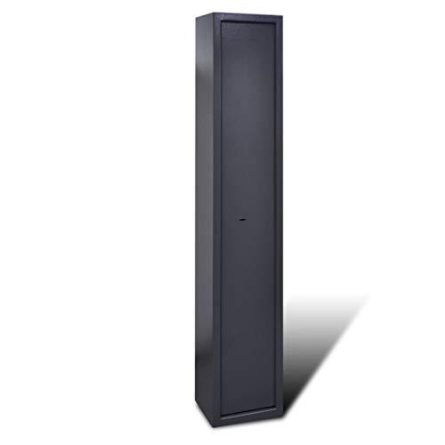 mewmewcat Armero con Caja de Munición para 5 Armas - Color de Gris Oscuro Material de Acero, 28x23x145 cm