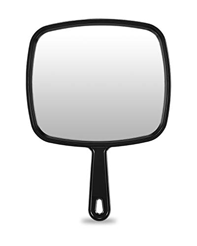 Extra Large Hand Mirror, Salon Barber Hairdressing Handheld Mirror with Handle (Square Black 9' x 12.4')