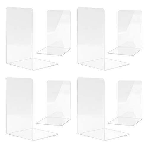 MSDADA Buchstützen, Hochwertiges Acryl Transparent Buchstützen für Kinder Erwachsene zum Arbeitszimmer, Büro, Schule(4 Paar)