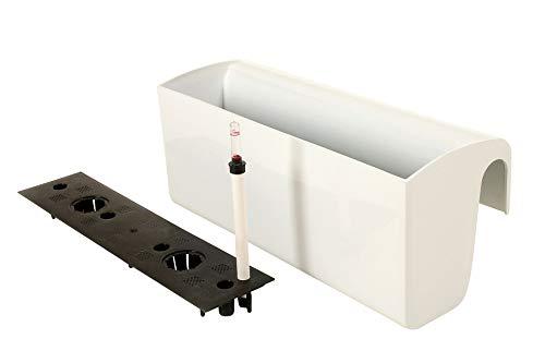 VIVANNO Balkonkasten mit Halterung & Bewässerungssystem Weiß BALKONA Classico 50 cm