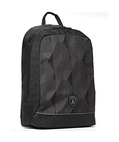 Mochila escolar compatible con Lamborghini redonda negro gris tiempo libre + llavero silbato + bolígrafo brillante