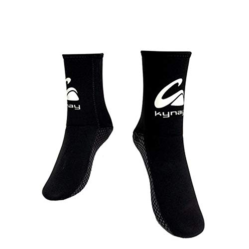 MDYYD Diving Socks Adult Cut-Resistant Thick-Bottom Long Beach Socks Non-Slip Coral Light Diving Socks Non-Slip Flexible Diving Socks (Color : Black, Size : S)