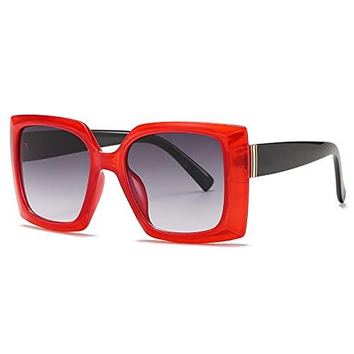 Gafas De Sol Gafas De Sol Cuadradas para Mujer, Gafas De Sol De Moda para Mujer, Gafas Retro para Hombre, Gafas Steampunk, Sombras Uv400 C4Red-Grey