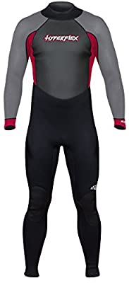 Hyperflex Mens and Womens 3mm Full Body Wetsuit – SURFING, Water Sports, Scuba Diving, Snorkeling - Comfort, Flexible and Anatomical Fit - and Adjustable Collar, Black/Red, L