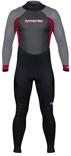 Hyperflex Men's and Women's 3mm Full Body Wetsuit – SURFING, Water Sports, Scuba Diving, Snorkeling - Comfort, Flexible and Anatomical Fit - and Adjustable Collar, Black/Red, XL (XA832MB-05-XL)