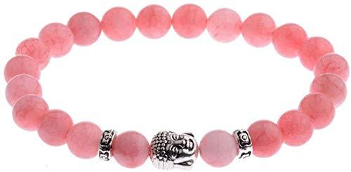 Pulsera de piedra Mujer, 7 chakra 8mm perlas de piedra natural de color rosa cristal elástico brazalete orar buddha cabeza joyería yoga energía equilibrio reiki ilimitado encanto regalo para hombres F