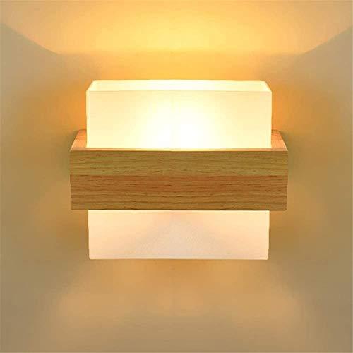 Aplique de pared industrial LED, Moderna pared de la pared simple cuadrada de acrílico de la lámpara de pared de madera japonesa Uso de Edison E27 Bulb Bombilla Dormitorio con cable de cabecera Ilumin