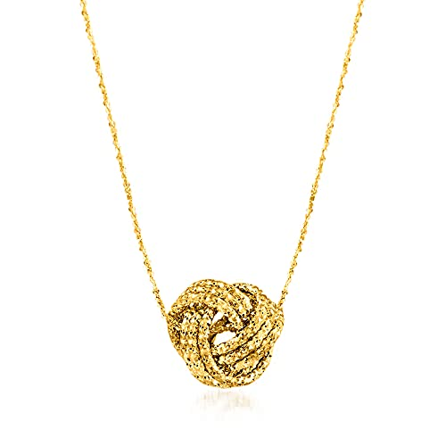 Ross-Simons Italian 14kt Yellow Gold Textured Love Knot Pendant Necklace. 18 inches