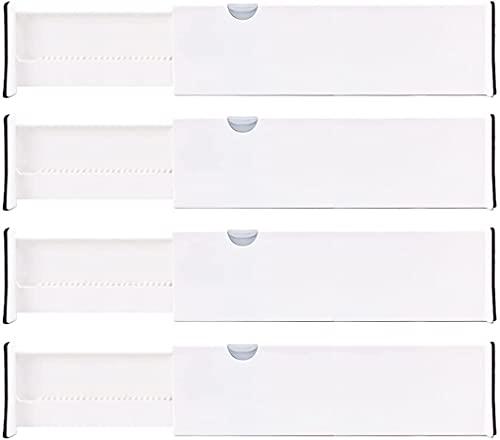 Lawei 4 separadores de cajones ajustables para cajón, organizador de bandejas extensibles para cocina, baño, dormitorio, oficina, se expande de 38 a 54 cm