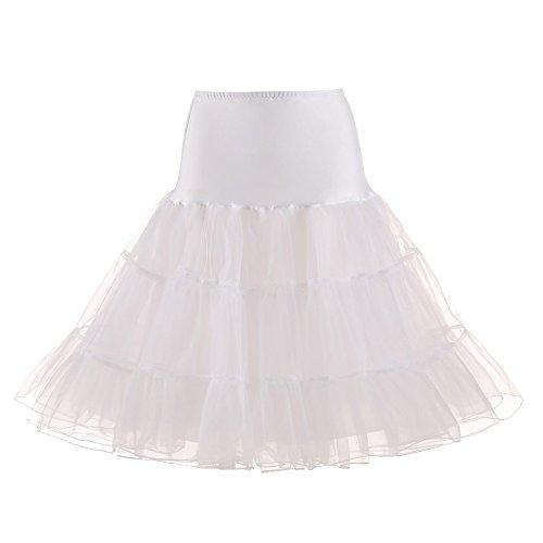 Vimoli Kleider Damen Kurz Tutu Retro Petticoat 1950s Vintage 50er Minirock Unterrock Tüllrock(Weiß,L)